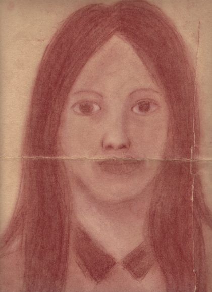 The earliest of my drawings in my possession, a self portrait drawn in in 7th grade.