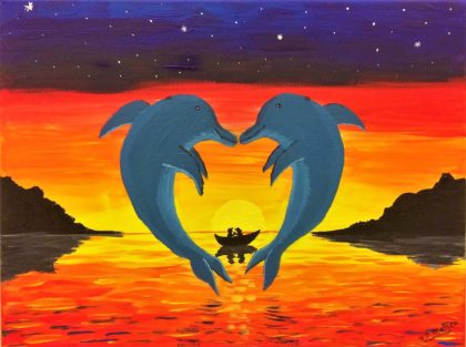 Two dolphins forming a heart, two people in a boat at sunset.